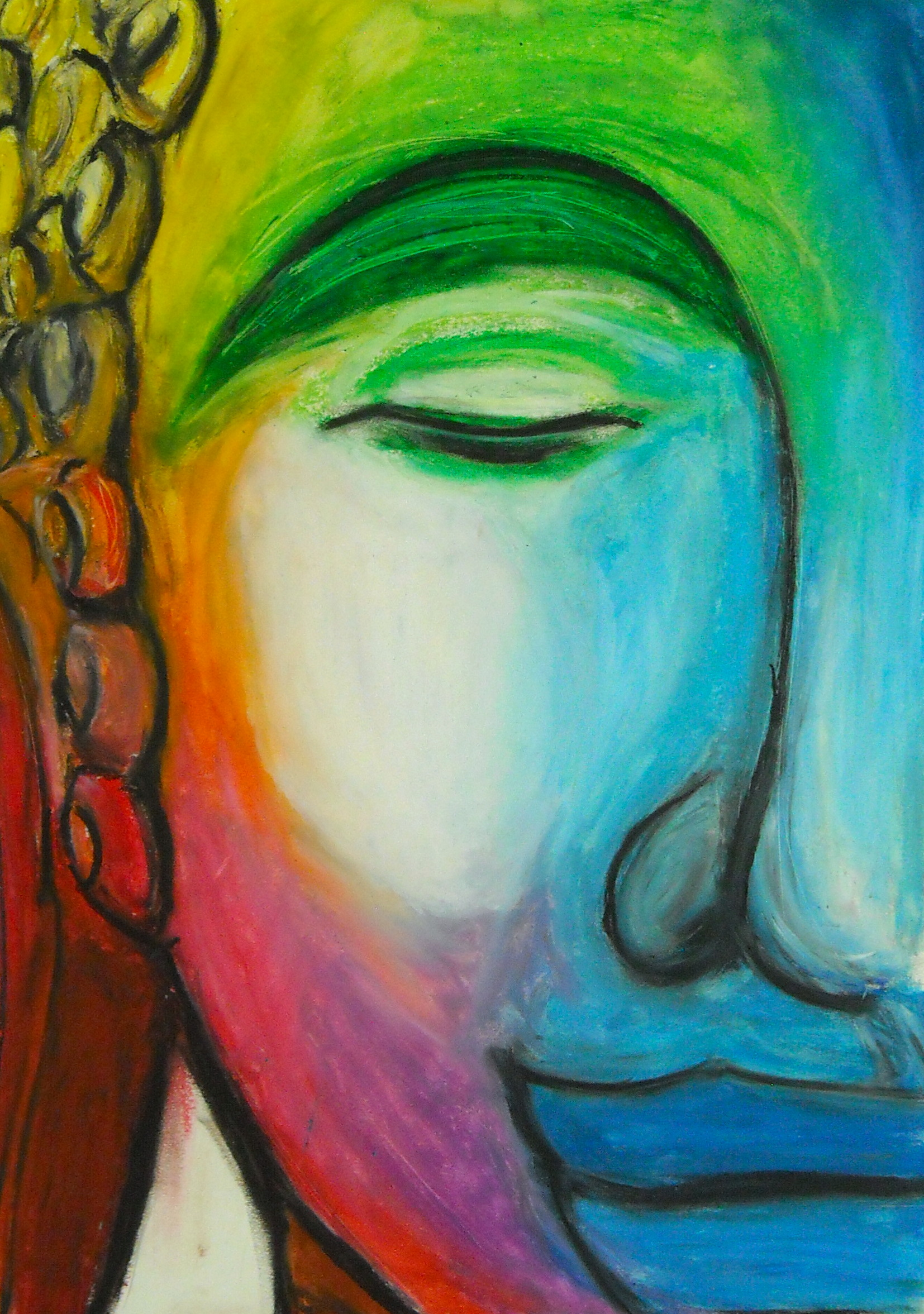 Smiling Buddha of Many Colors, Oil pastel